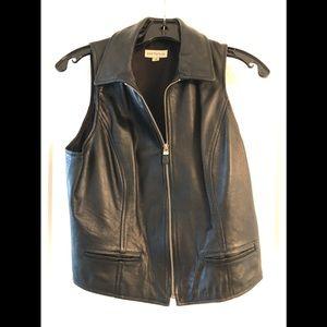 Black Leather Vest Ann Taylor Small